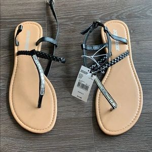 Black sandals with silver gems